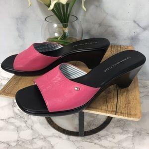 """Tommy Hilfiger """"Marie"""" Pink Leather Slides Sz. 11"""